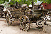 Antique wooden wagon at the Eastern California Museum, 155 N. Grant Street, Independence, California, 93526, USA. The Museum was founded in 1928 and has been operated by the County of Inyo since 1968. The mission of the Museum is to collect, preserve, and interpret objects, photos and information related to the cultural and natural history of Inyo County and the Eastern Sierra, from Death Valley to Mono Lake.