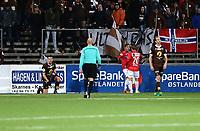 Fotball ,  OBOS-Ligaen<br /> 22.10.17<br /> Gjemselund kunstgress<br /> Kongsvinger v Mjøndalen  3-2<br /> Foto :  Dagfinn Limoseth , Digitalsport<br /> Niklas Fernando Nygaard Castro , Kongsvinger jubler etter sin scoring .