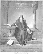 King Solomon in Old Age 2 Chronicles 1:10 From the book 'Bible Gallery' Illustrated by Gustave Dore with Memoir of Dore and Descriptive Letter-press by Talbot W. Chambers D.D. Published by Cassell & Company Limited in London and simultaneously by Mame in Tours, France in 1866