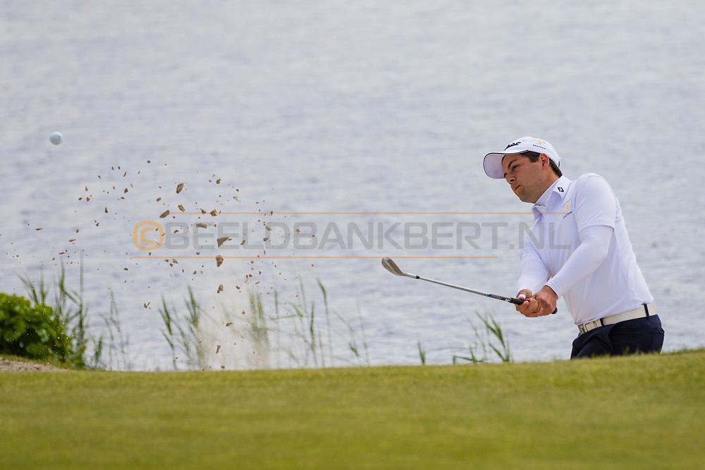 17-05-2015 NGF Competitie 2015, Hoofdklasse Heren - Dames Standaard - Finale, Golfsocieteit De Lage Vuursche, Den Dolder, Nederland. 17 mei. Heren Houtrak: Philip Bootsma tijdens de singles.