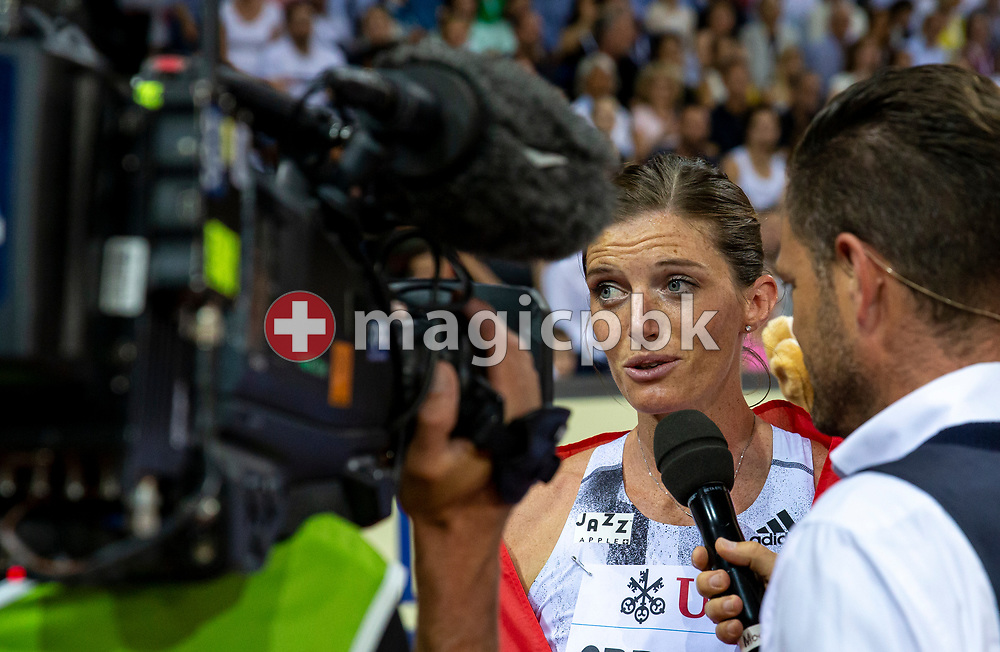 Lea SPRUNGER of Switzerland gives an interview after competing in the Women's 400m Hurdles during the Iaaf Diamond League meeting (Weltklasse Zuerich) at the Letzigrund Stadium in Zurich, Switzerland, Thursday, Aug. 29, 2019. (Photo by Patrick B. Kraemer / MAGICPBK)