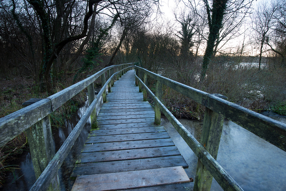 Footbridge over the River Test at Cow Common, Chilbolton, Hampshire.
