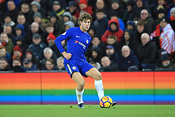 25 November 2017 -  Premier League - Liverpool v Chelsea - Marcos Alonso of Chelsea abasing a backdrop of rainbow coloured LED boards promoting the anti-homophobia campaign, Stonewall - Photo: Marc Atkins/Offside