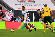 Marcus Rashford of England dribbling during the FIFA World Cup Qualifier group stage match between England and Lithuania at Wembley Stadium, London, England on 26 March 2017. Photo by Matthew Redman.