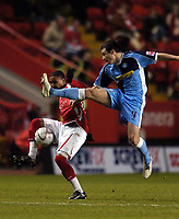 Photo: Olly Greenwood.<br />Charlton Athletic v Wycombe Wanderers. Carling Cup. 19/12/2006. Wycombe's Russell Martin and Charlton's Jerome Thomas