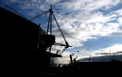 Lineout in the shadow of the Principality Stadium during the Heineken European Champions Cup match at Cardiff Arms Park.