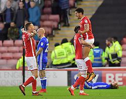 Barnsley's Ezekiel Fryers is hoisted aloft after scoring his team's second goal