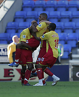Photo: Andi Thompson.<br />Wigan Athletic v Watford. The Barclays Premiership. 23/09/2006.<br />Watford Players celebrate Hamer Bouazza's (lifted) Goal