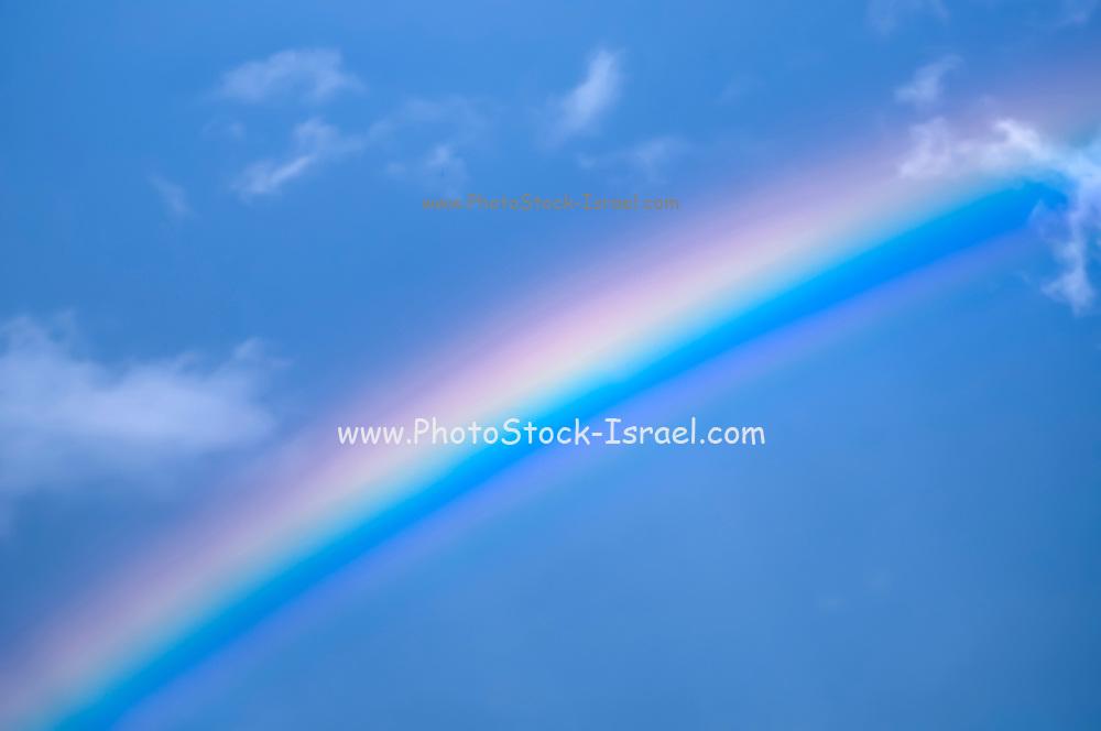 Rainbow on blue sky background