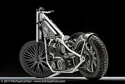 A de-raked style evo custom built by Brad Gregory of Glenwood, IA. Photographed by Michael Lichter in Sturgis, SD on August 6, 2017. ©2017 Michael Lichter.