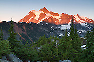 Alpenglow on Mt. Shuksan at the Mount Baker-Snoqualmie National Forest in Washington State, USA