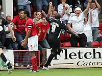 Photo: Paul Thomas.<br /> Walsall v Swansea. Coca Cola League 1.<br /> 27/08/2005.<br /> <br /> Adebayo Akinfenwa celebrates his goal.