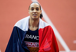 Second placed Pascal Martinot-Lagarde of France celebrates after the 60m Hurdles Men Final on day one of the 2017 European Athletics Indoor Championships at the Kombank Arena on March 3, 2017 in Belgrade, Serbia. Photo by Vid Ponikvar / Sportida