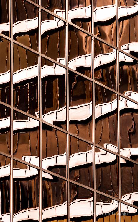 Detail of window reflections in 1000 Broadway building, Portland, Oregon