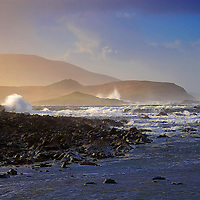 Winter Storm Black Strand Beach with pounding Atlantic waves, near Cahersiveen County Kerry Ireland / ch103