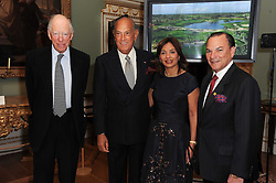 A party to promote the exclusive Puntacana Resort & Club - the Caribbean's Premier Golf & Beach Resort Destination, was held at Spencer House, London on 13th May 2010.<br /> <br /> Picture shows:- Left to right, LORD ROTHSCHILD, OSCAR DE LA RENTA, MR & MRS FRANK RAINIERI.