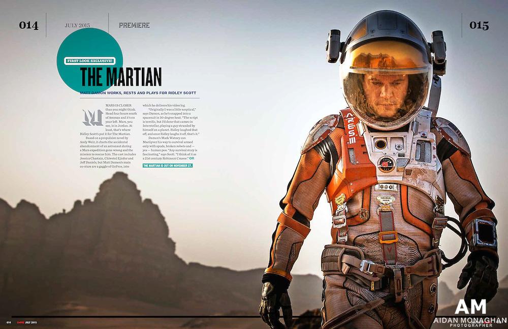 Empire Magazine July 2015 'The Martian'- Matt Damon works rests and Plays for Ridley Scott.<br /> <br />  Aidan Monaghan film stills photographer, the martian unit stills photographer.