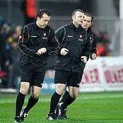 Referee's Tolga Ozkalfa (C) during their Turkish superleague soccer match Fenerbahce between Bursaspor at the Sukru Saracaoglu stadium in Istanbul Turkey on Sunday 10 March 2013. Photo by Aykut AKICI/TURKPIX