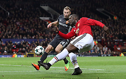 CSKA Moscow's Vasili Berezutski (left) and Manchester United's Romelu Lukaku in action during the UEFA Champions League match at Old Trafford, Manchester.