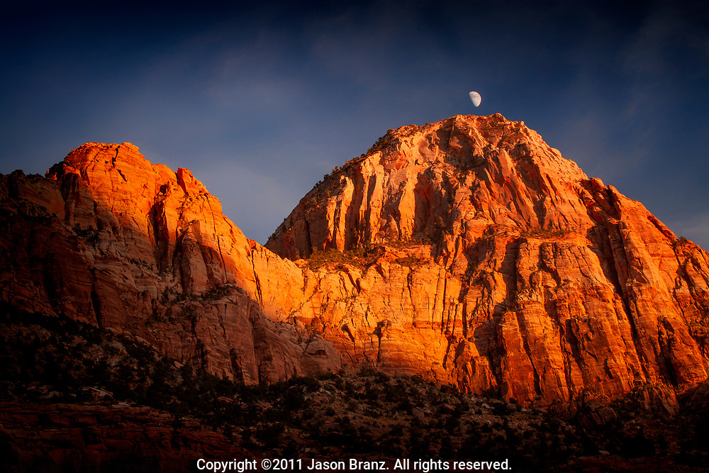 Moonrise over the walls of Zion Canyon, Zion National Park, Utah.