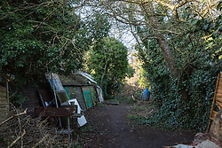 London, UK. 26th February, 2019. Dwellings at Grow Heathrow, a squatted eco-community founded in 2010 on a previously derelict site close to Heathrow airport in protest against government plans for a third runway which was today partially evicted by bailiffs. The community has developed an extensive garden and is acknowledged to have made a significant educational and spiritual contribution to life in the Heathrow villages which are threatened by airport expansion. Bailiffs today evicted most of the front section of the site, owned by Imran Malik, removing several protesters locked on in towers above the camp, but four protesters are believed to remain in a tunnel beneath that area. Many more protesters remain on the rear portion of the site. Five legal challenges to the government's approval of a 3rd runway at Heathrow will proceed to judicial review at the Royal Courts of Justice on 10th March.