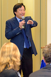 2016 Kiphuth Medal Recipient Ming Tsai '86. Yale University Athletics. New Haven Connecticut 23 February 2016. Ming Tsai speaking at the award luncheon.