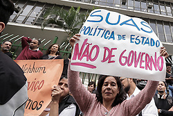 August 14, 2017 - Sao Paulo, Brazil - hundreds of workers, NGOs and users of the Unified Social Assistance System (SUAS) holding banners and shouting slogans attends a demonstration against the dismantling and budget cuts reserved for public policies Of social assistance in the Maria Paula viaduct (Credit Image: © Dario Oliveira via ZUMA Wire)