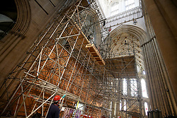 @ Licensed to London News Pictures.15/09/2020. York, UK. Workmen replace parts of York Minster's Grand Organ as the 4 year refurbishment work enters its final stages at a cost of 2 million pounds its first refurbishment in 100 years. 15 September 2020. Photo credit: Nigel Roddis/LNP