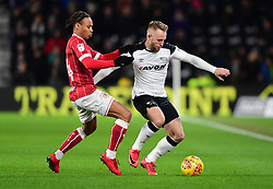 Bobby Reid of Bristol City Bristol City battles for the ball with  Johnny Russell of Derby County  - Mandatory by-line: Joe Meredith/JMP - 19/01/2018 - FOOTBALL - Pride Park Stadium - Derby, England - Derby County v Bristol City - Sky Bet Championship