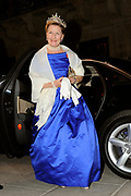 Gala dinner on the occasion of the civil wedding of Grand Duke Guillaume and Princess Stephanie at the Grand-Ducal palace in Luxembourg <br /> <br /> On the photo: Queen Sonja of Norway