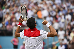 June 23, 2018 - London, England, United Kingdom - Novak Djokovic of Serbia celebrates his victory against Jeremy Chardy of France in the semi final singles match on day six of Fever Tree Championships at Queen's Club, London on June 23, 2018. (Credit Image: © Alberto Pezzali/NurPhoto via ZUMA Press)