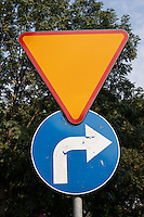 Polish road sign for turn right