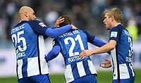 Fotball<br /> Tyskland<br /> Foto: Witters/Digitalsport<br /> NORWAY ONLY<br /> <br /> 2:1 Jubel v.l. John Anthony Brooks, Torschuetze Marvin Plattenhardt, Per Ciljan Skjelbred (Berlin)<br /> Berlin, 11.03.2017, Fussball, Bundesliga, Hertha BSC Berlin - Borussia Dortmund