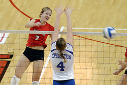 24 November 2006: Mary Catherine Richmond takes a strike at Amanda Cvejdlik during a Quarterfinal match between the Illinois State University Redbirds and the Creighton University Bluejays. The Tournament was held at Redbird Arena on the campus of Illinois State University in Normal Illinois.<br />