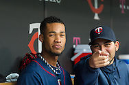 Pedro Florimon #25 of the Minnesota Twins smiles in the dugout before a game against the Boston Red Sox on May 17, 2013 at Target Field in Minneapolis, Minnesota.  The Red Sox defeated the Twins 3 to 2.  Photo: Ben Krause