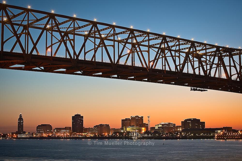 The Baton Rouge, La. skyline at dawn showing the I-10 Mississippi River bridge.