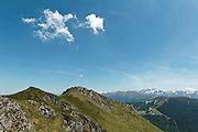 view of mountain ridge near Col du Pas de l'Ane, Haute-Garonne, Midi-Pyrenees, France.