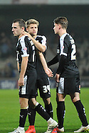 James Bree of Barnsley FC,Lloyd Isgrove of Barnsley FC andJosh Scowen of Barnsley FC at end off match during the Sky Bet League 1 match between Scunthorpe United and Barnsley at Glanford Park, Scunthorpe, England on 31 October 2015. Photo by Ian Lyall.