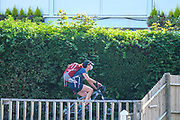 Henley-On-Thames, Berkshire, UK., Saturday,  08/08/2020,  Masked Coach, cycling on the Thames Path at  H-O-T., River Thames, Thames Valley, [ Mandatory Credit © Peter Spurrier/Intersport Images], Leander Club ,