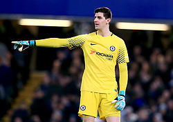 """Chelsea goalkeeper Thibaut Courtois during the Carabao Cup Semi Final, First Leg match at Stamford Bridge, London. PRESS ASSOCIATION Photo. Picture date: Wednesday January 10, 2018. See PA story SOCCER Chelsea. Photo credit should read: Mike Egerton/PA Wire. RESTRICTIONS: EDITORIAL USE ONLY No use with unauthorised audio, video, data, fixture lists, club/league logos or """"live"""" services. Online in-match use limited to 75 images, no video emulation. No use in betting, games or single club/league/player publications."""