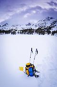 Pack and ski poles, John Muir Wilderness, Sierra Nevada Mountains, California  USA