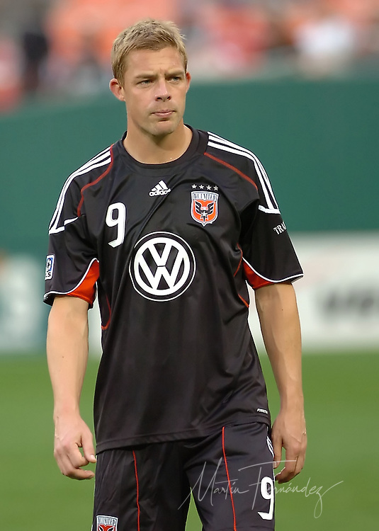 DC United forward Danny Allsopp. DC United lost its 2010 opening match 2-0 to the visiting New England Revolution at RFK Stadium in Washington, D.C.