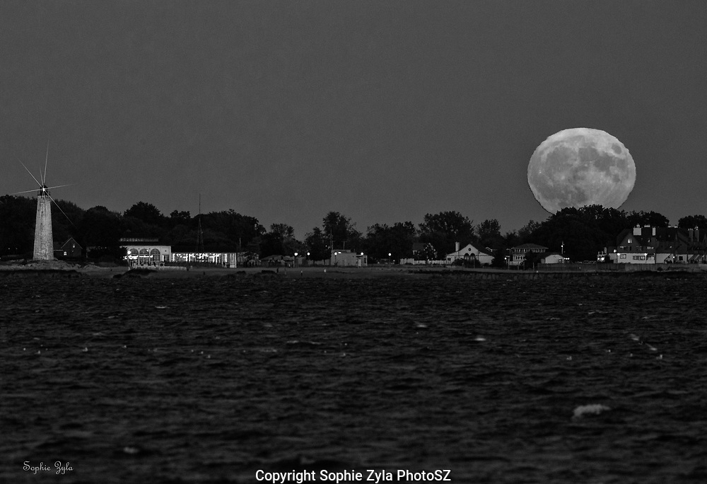 Friday 13th Harvest Moon over Lighthouse Point B & W