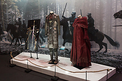 © Licensed to London News Pictures. 09/02/2015. London, UK. Costume exhibits at the Game of Thrones Exhibitionon on 9th February 2014 at the O2 Arena in Greenwich, south-east London. Photo credit : Vickie Flores/LNP