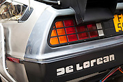 Detail of the famous car used in the hit American movie Back to the Future. The care was a modified silver De Lorean