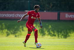 LIVERPOOL, ENGLAND - Wednesday, September 15, 2021: Liverpool's James Balagizi during the UEFA Youth League Group B Matchday 1 game between Liverpool FC Under19's and AC Milan Under 19's at the Liverpool Academy. Liverpool won 1-0. (Pic by David Rawcliffe/Propaganda)