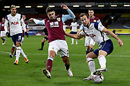 Tottenham Hotspur forward Harry Kane (10) takes on Burnley defender Matthew Lowton (2) in the box  during the Premier League match between Burnley and Tottenham Hotspur at Turf Moor, Burnley, England on 26 October 2020.
