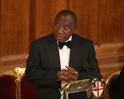 South African President Cyril Ramaphosa delivers a speech during the Commonwealth Heads of Government banquet at the Guildhall in London, during the Commonwealth Heads of Government Meeting biennial summit.