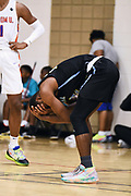 NORTH AUGUSTA, SC. July 10, 2019. Team Final player reacts at Nike Peach Jam in North Augusta, SC. <br /> NOTE TO USER: Mandatory Copyright Notice: Photo by Alex Woodhouse / Jon Lopez Creative / Nike