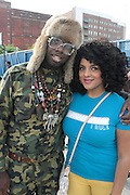"""June 2, 2012- Philadelphia, PA, United States: (L-R) Recording Artist Mr. MFN eXquire and Recording Artist Marsha Ambrosius attend the 5th Annual ROOTS Picnic held at Festival Pier at Penn's Landing in Philadelphia, PA . The Roots is an American hip hop/neo soul band formed in 1987 by Tariq """"Black Thought"""" Trotter and Ahmir """"Questlove"""" Thompson in Philadelphia, Pennsylvania. They are known for a jazzy, eclectic approach to hip hop which includes live instrumentals. (Photo by Terrence Jennings)"""